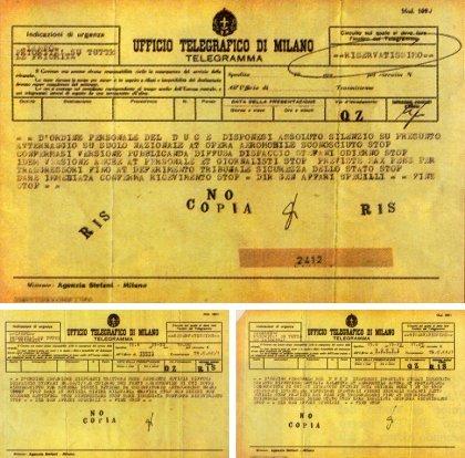 L'UFO CADUTO A VERGIATE E CENSURATO DA MUSSOLINI - 1933