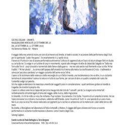 """MATERA. SOLVEIG COGLIANI ESPONE A PALAZZO MALVINNI-MALVEZZI - VERNISSAGE MERCOLEDÌ 18 SETTEMBRE ALLE 18 La grande stagione di 'Matera Capitale Europea della Cultura 2019' non poteva certo privarsi della mostra pittorica di Solveig Cogliani curata da Paolo Battaglia La Terra Borgese.  Imponente l'organizzazione dei professionisti della Cosessantuno Artecontemporanea per dirigere questa preziosa esposizione dell'ultimo dei capolavori dipinti della Cogliani: """"Umanità"""", tecnica mista su pannelli di fiamma acid-free, cm. 140x390, che resterà a Matera sino a venerdì 11 Ottobre di quest'anno. Una nuova epoca di pittura - dichiara Paolo Battaglia La Terra Borgese - si inaugura con la pittrice Solveig Cogliani e l'energia delle sue esclusività tecniche accende una sorgente luminosa a Matera.  Ma noi, con orecchio critico, abbiamo intervistato dall'Italia Solveig Cogliani, giusto di ritorno da Beirut per un'altra sua mostra, un ulteriore fiore all'occhiello per l'arte italiana. «Il viaggio della mia umanità - esprime elegante Solveig Cogliani - inizia una sera di primavera ad Amelia, al teatro sociale, in occasione della performance degli Esos per lo spettacolo """"Judas the guess"""". Era esattamente il 12 aprile 2019.  Il lavoro è il frutto di 4 ore di azione performativa attraverso l'utilizzo di sagome di alcuni Esos e di alcuni disegni fatti in studio su carta da me. Si svolge in un turbine di corpi in movimento, ispirati alle immagini ritratte da Sebastiao Salgado ne """"Dalla mia Terra alla Terra""""- corpi straziati e tormentati dalla fame e dalla guerra -  ma non solo anche nudi femminili e due scritte 'Mi hai tradito' / 'Mi hai salvato' ... la cornice dell'epopea dell'umanità tra il morso alla mela e la crocifissione di Cristo - tradimento e salvezza/ peccato e perdono/ un viaggio costante dell'uomo verso l'oltre.  L'opera si fa testimone della violenza e della meraviglia di cui è fatto il mondo, una testimonianza che va oltre, in un costante tentativo di comprendere l'uomo e la"""
