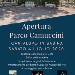 4 Luglio 2020 - inaugurazione Parco Camuccini - Cantalupo in Sabina
